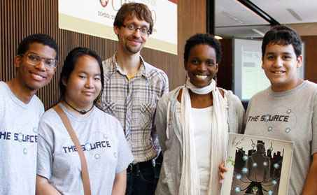 Patrick Jagoda and Melissa Gilliam with students.