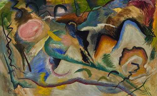 Attributed to Wassily Kandinsky, Composition, 1914, Oil on canvas. Smart Museum of Art, The University of Chicago, Gift of Dolores and Donn Shapiro in honor of Jory Shapiro, 2012.51. Courtesy of Smart Museum of Art
