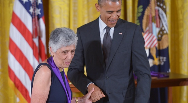 Joan Harris with President Obama