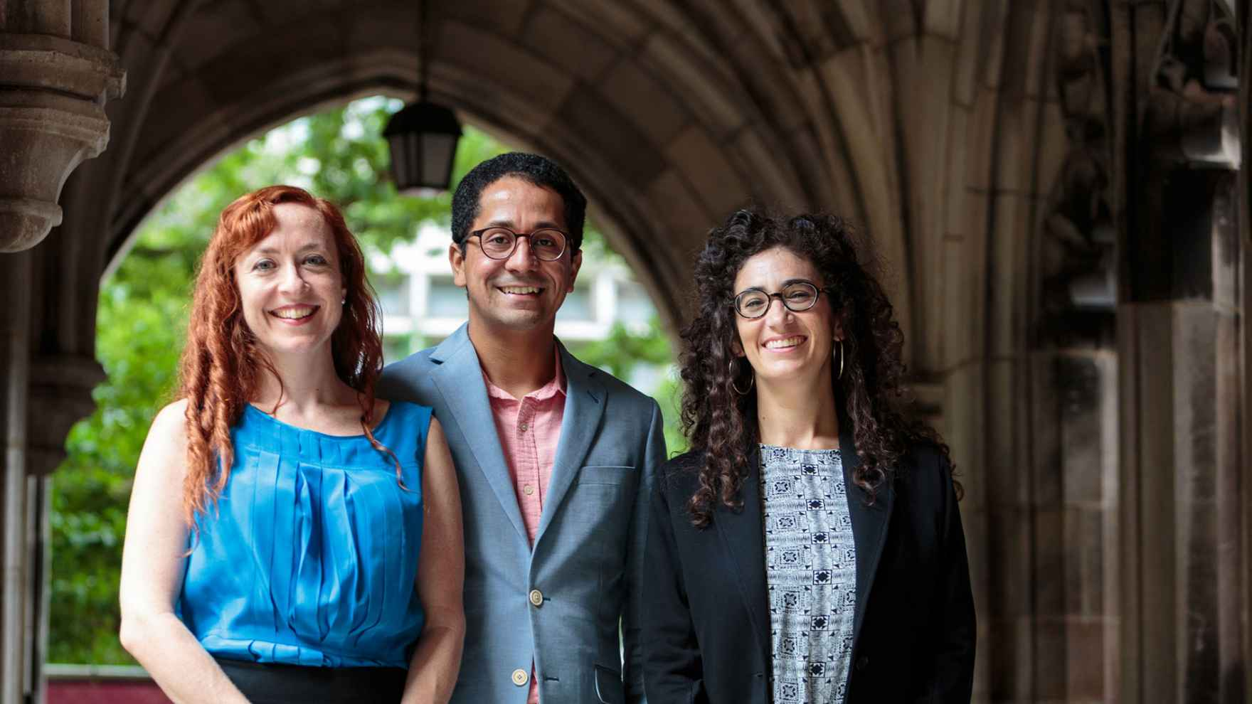 Rachel Galvin, Edgar Garcia, and Salomé Skvirsky are three of seventeen new faculty members this fall