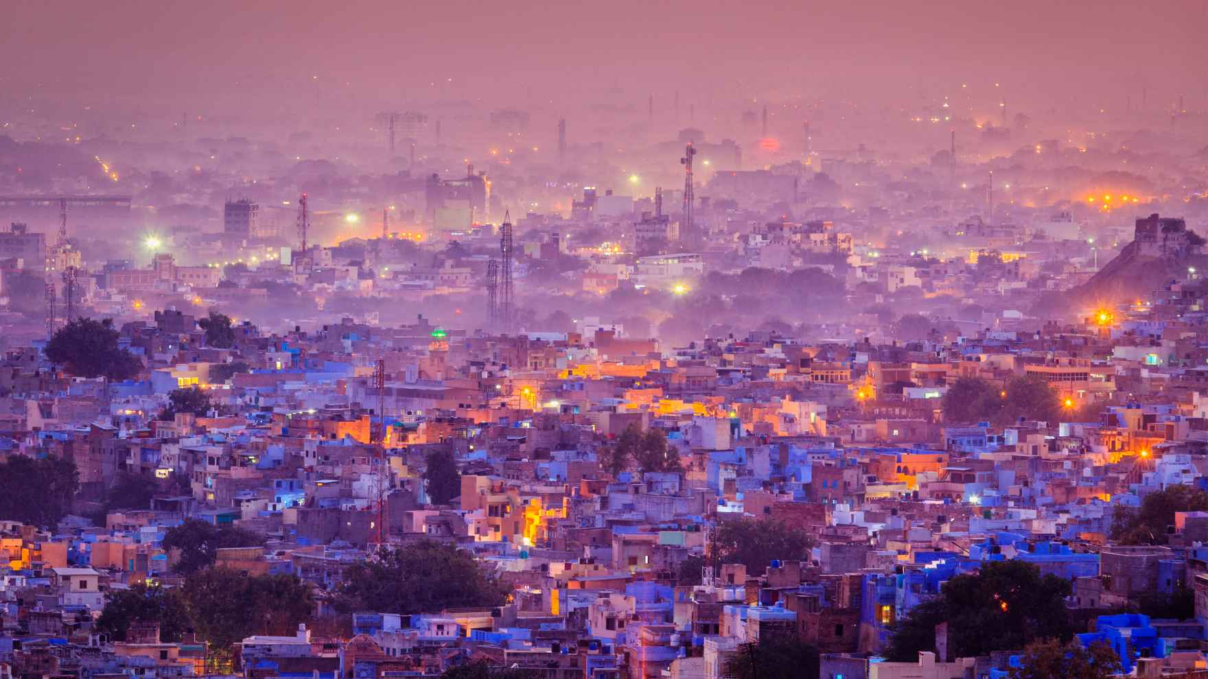 Aerial view of Jodhpur, India, at night. Alyssa Ayres, AM'96, PhD'04, has tracked the rise of India on the global stage.