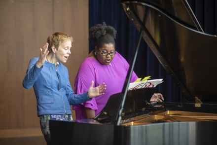 "Augusta Read Thomas (left) and Nicole Paris (right) rehearse for the opera ""Sweet Potato Kicks the Sun."""