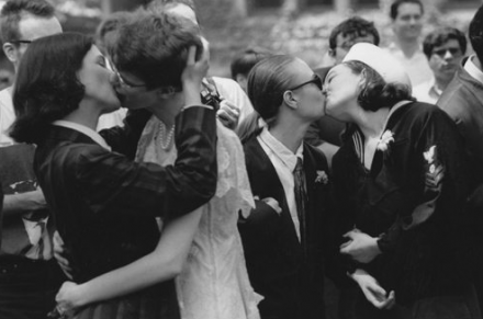 Students protest the inequality of domestic partnerships at Weddstock, 1992. Courtesy of University of Chicago Photographic Archive