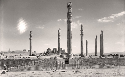 View of the eastern stairway and columns of the Apadana (Audience Hall) at Persepolis, Iran, 5th century B.C. (Courtesy of Oriental Institute)
